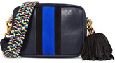 Clare Vivier Midi Sac Leather And Suede Shoulder Bag - Navy