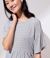 LOFT Striped Drop Shoulder Peplum Tee