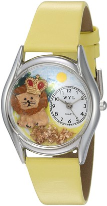 Whimsical Watches Lion Yellow Leather and Silvertone Unisex Quartz Watch with White Dial Analogue Display and Multicolour Leather Strap S-0150003