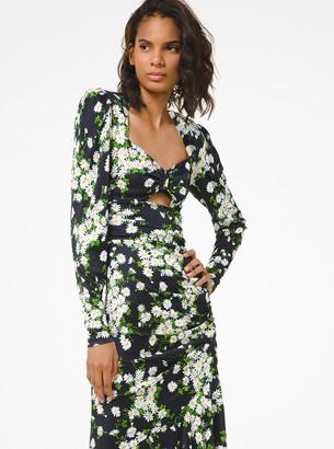 Michael Kors Daisy Satin Jersey Ruched Dress