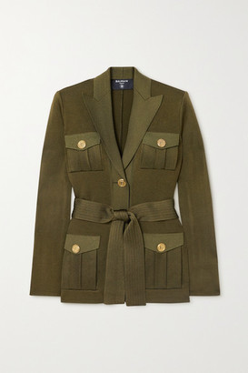 Balmain Belted Knitted Jacket - Army green