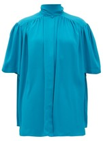 Balenciaga Tie-neck Gathered Crepe Blouse - Womens - Blue