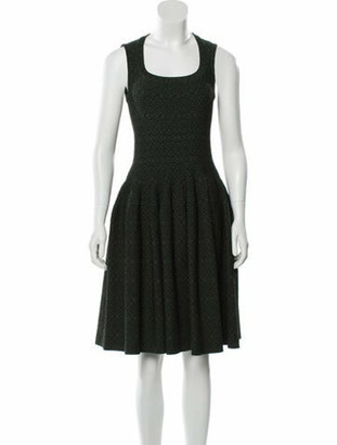 Alaia Fit and Flare knee-length Dress green