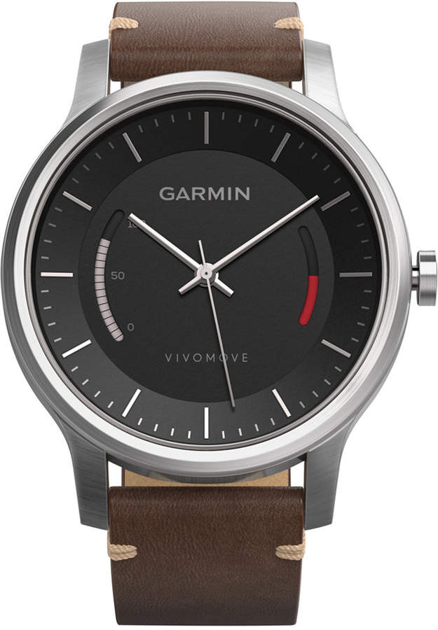 Garmin Unisex Vívomove Premium Brown Leather Strap Activity Tracking Smart Watch 42mm 010-01597-22