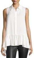 Diane von Furstenberg Lanzi Sleeveless Ruffle-Hem Silk Shirt, Ivory