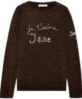Bella Freud Je T'aime Jane Embroidered Metallic Wool-blend Sweater - Black