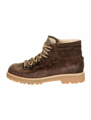 Montelliana Suede Lace-Up Boots Brown