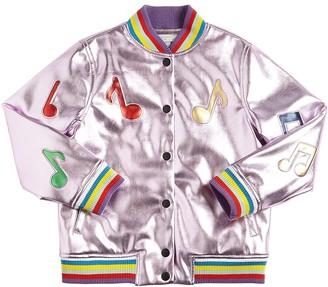 Stella McCartney Kids Laminated Faux Leather Bomber Jacket