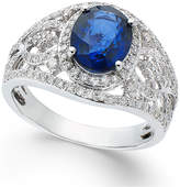 Effy Sapphire (1-9/10 ct. t.w.) and Diamond (1/2 ct. t.w.) Ring in 14k White Gold