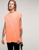 Asos Oversized Sleeveless T-Shirt In Fluro Coral