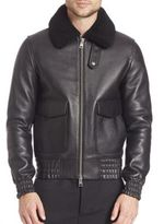 Ami Shearling Collar Blouson Leather Jacket