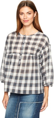 Max Studio Women's Plaid Shirting Blouse