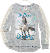 Arizona 3/4 Sleeve Lace Detail Graphic Top - Girls' 7-16 and Plus