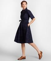 Brooks Brothers Checked Cotton Jacquard Shirt Dress