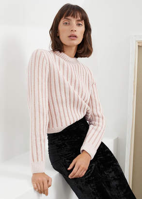 And other stories Mock Neck Metallic Stripe Sweater
