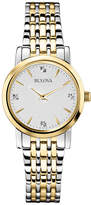 Zales Ladies' Bulova Two-Tone Diamond Accent Watch with Silver-Tone Dial (Model: 98P115)