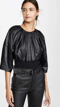 3.1 Phillip Lim Leather Rib Hem Top