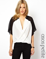 Asos Top with Inserted Collar in Sheer and Solid Color Block