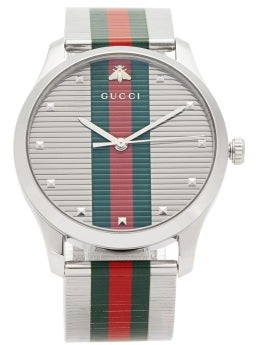 Gucci G-timeless Web-stripe Stainless-steel Watch - Mens - Silver Multi