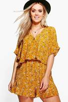 Boohoo Plus Kelly Floral Printed Ruffle Playsuit mustard