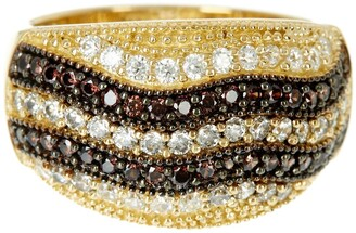 Suzy Levian 14K Gold Plated Sterling Silver Striped Chocolate CZ Ring