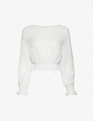 Peony Swimwear Magnolia cropped organic-cotton and hemp-blend top