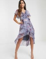 Asos Design DESIGN cape back dipped hem midi dress in soft check floral print