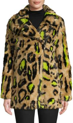 Apparis Leopard-Print Faux Fur Coat