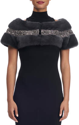 Swarovski Carolyn Rowan Mink Fur Capelet with Crystals