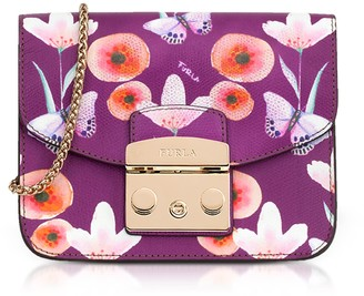 Furla Butterfly Printed Bouganville Leather Metropolis Mini Crossbody Bag