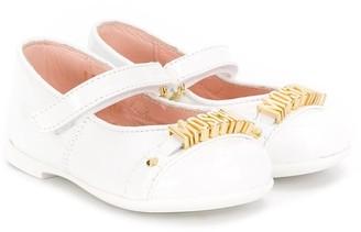 MOSCHINO BAMBINO Logo Plaque Ballerina Shoes