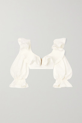 Zimmermann The Lovestruck Cropped Ruffled Plisse-georgette Bustier Top - White