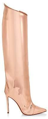 Alexandre Vauthier Women's Alex Mirror Metallic Leather Tall Boots