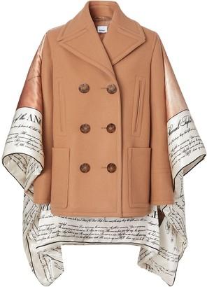 Burberry Mariner print blanket detail technical wool pea coat