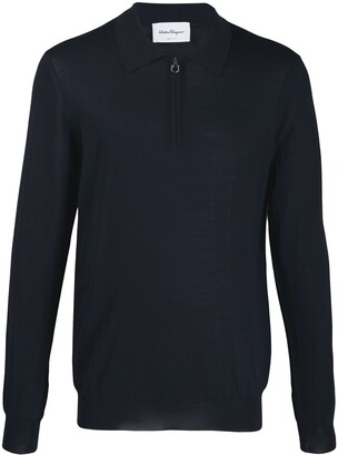 Salvatore Ferragamo Gancini zip-up collar knitted sweater