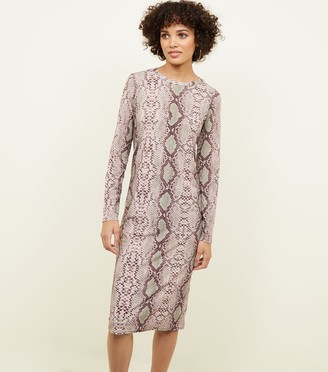 New Look Snake Print Long Sleeve Dress