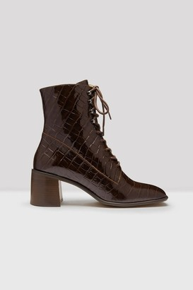 E8 Miista - Brown Patent Croc Emma Boot - Brown / 39