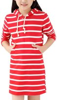 uxcell® Girls Kangaroo Pocket Stripes Drawstring Hooded Dress