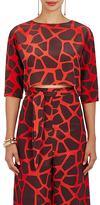 Vanda Jacintho Women's Giraffe-Print Silk Crêpe De Chine Crop Top