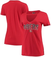 New Era Women's Scarlet San Francisco 49ers Gradient Glitter Choker V-Neck T-Shirt