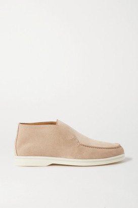 Loro Piana Open Walk Suede Loafers - Beige