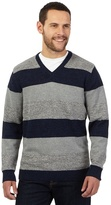 Maine New England Big And Tall Grey And Navy Twist Striped V Neck Jumper