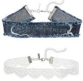 Topshop Women's Set Of 2 Lace & Denim Chokers