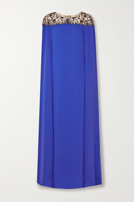 Marchesa Notte Cape-effect Embellished Tulle And Crepe Gown - Royal blue