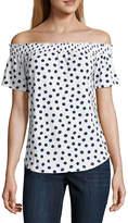 Liz Claiborne Short Sleeve Boat Neck T-Shirt-Talls
