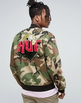 Huf Bomber Jacket With Back Embroidery