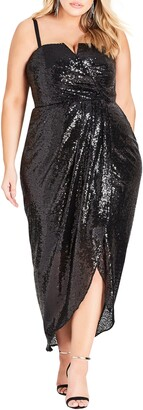 City Chic Siren Convertible Strap Sequin Faux Wrap Gown