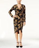 Thalia Sodi Chain-Print Faux-Wrap Dress, Only at Macy's