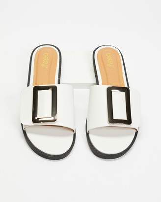 Betsy - Women's White Flat Sandals - Buckle Slides - Size 38 at The Iconic