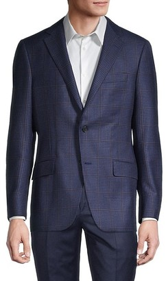 Hickey Freeman Standard Fit Windowpane Wool Suit Jacket